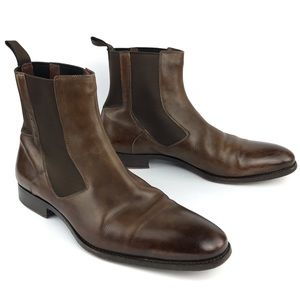 Santoni Brown Leather Shearling Lined Chelsea Boot